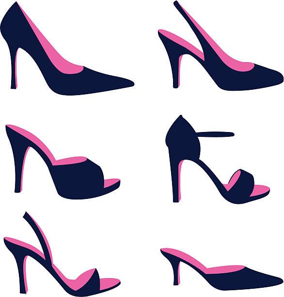 silhouette der frauen stiletto schuhe aus - couture stock-grafiken, -clipart, -cartoons und -symbole