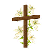 Silhouette of wooden cross with lilies. Happy Easter concept illustration or greeting card. Religious symbols of faith