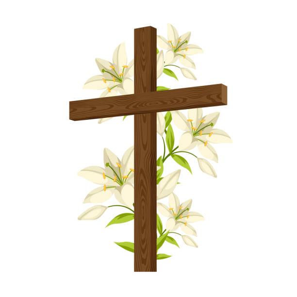 백합 나무 십자가의 실루엣입니다. 행복 한 부활절 개념 그림 또는 인사말 카드입니다. 믿음의 종교적인 상징 - 십자가 stock illustrations