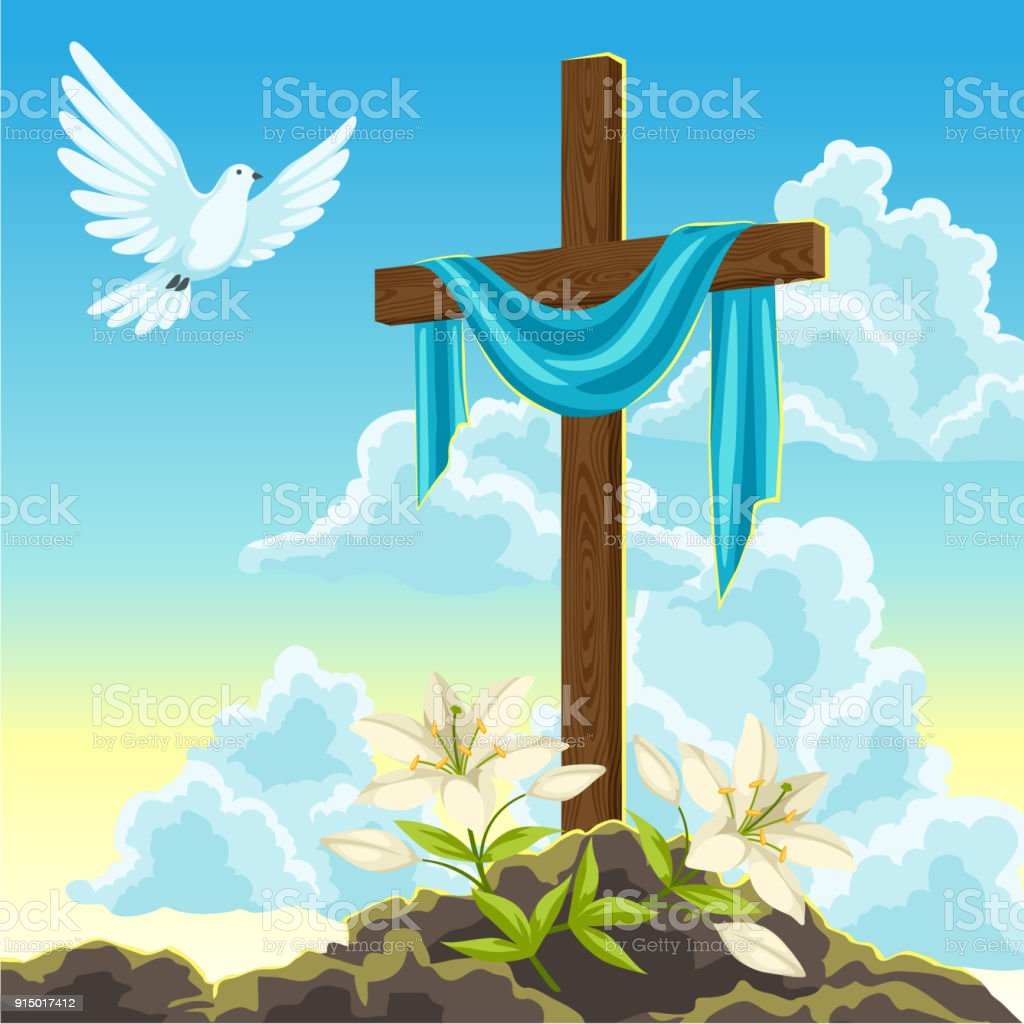 Silhouette Of Wooden Cross With Shroud Dove And Lilies Happy Easter