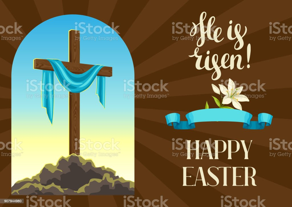 Silhouette of wooden cross with shroud. Happy Easter concept illustration or greeting card. Religious symbol of faith against sunrise sky vector art illustration
