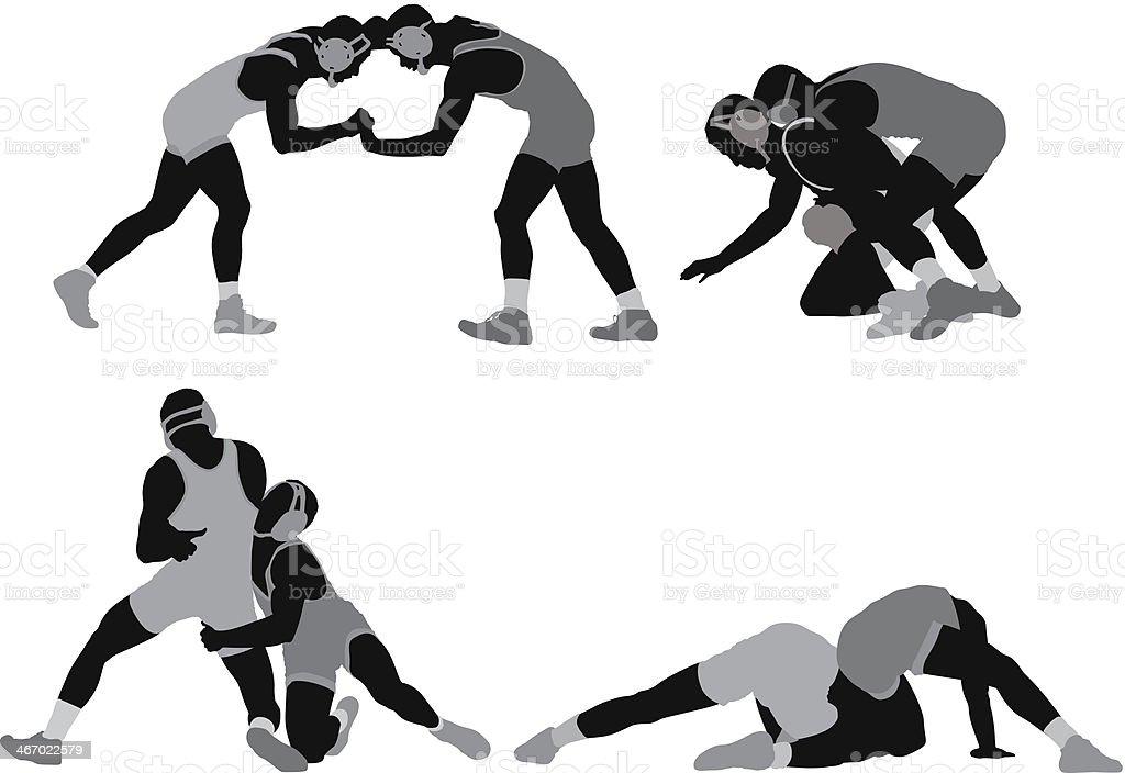Silhouette von wrestlers in Aktion – Vektorgrafik