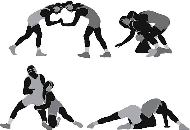 silhouette of wrestlers in action - wrestling stock illustrations, clip art, cartoons, & icons