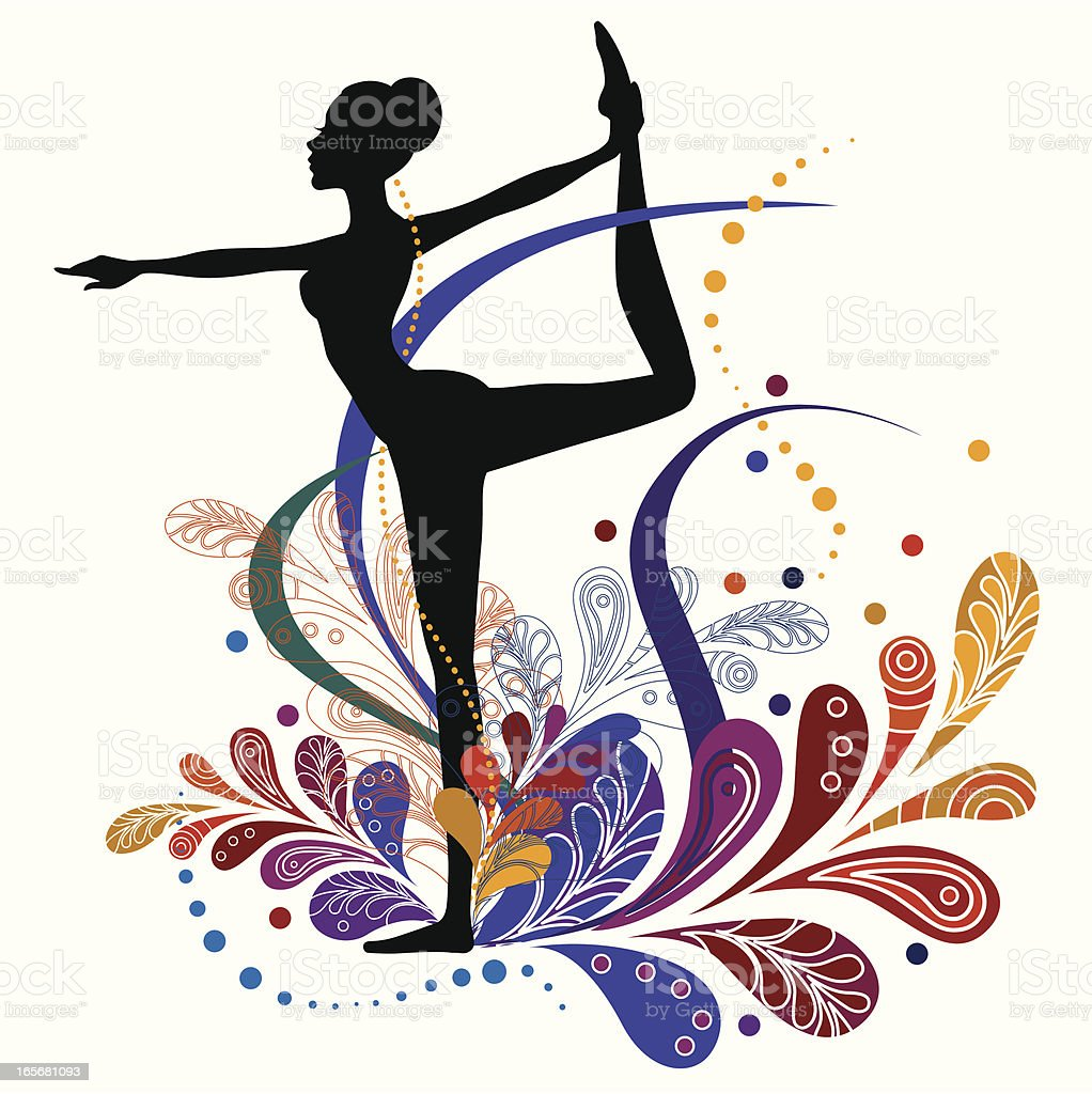Silhouette of yoga bow pose with vector floral design vector art illustration