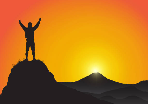 Silhouette of young man standing on top of the mountain with fists raised up on golden sunrise background, success, achievement,victory and winning concept vector illustration Silhouette of young man standing on top of the mountain with fists raised up on golden sunrise background, success, achievement,victory and winning concept vector illustration mountain top stock illustrations