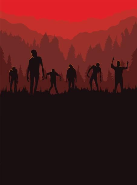 bildbanksillustrationer, clip art samt tecknat material och ikoner med silhuetten av zombie horde var spännande ur kyrkogården på natten. - zombie