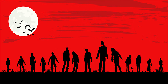 Silhouette of zombies walking at graveyard, Vector Illustration