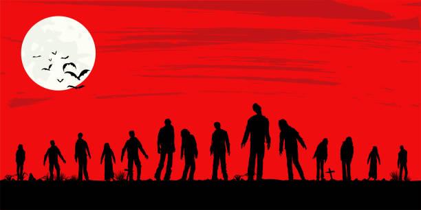 bildbanksillustrationer, clip art samt tecknat material och ikoner med silhuett av zombies gå på graveyard, vektor illustration - zombie