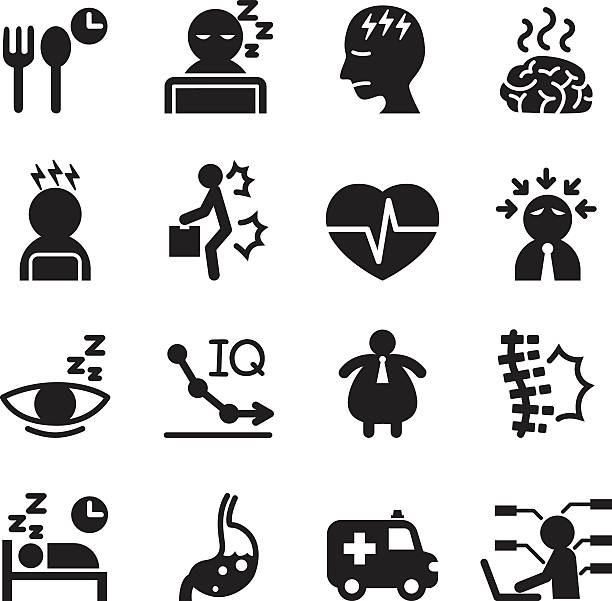 silhouette office syndrome icons set - anxiety stock illustrations, clip art, cartoons, & icons