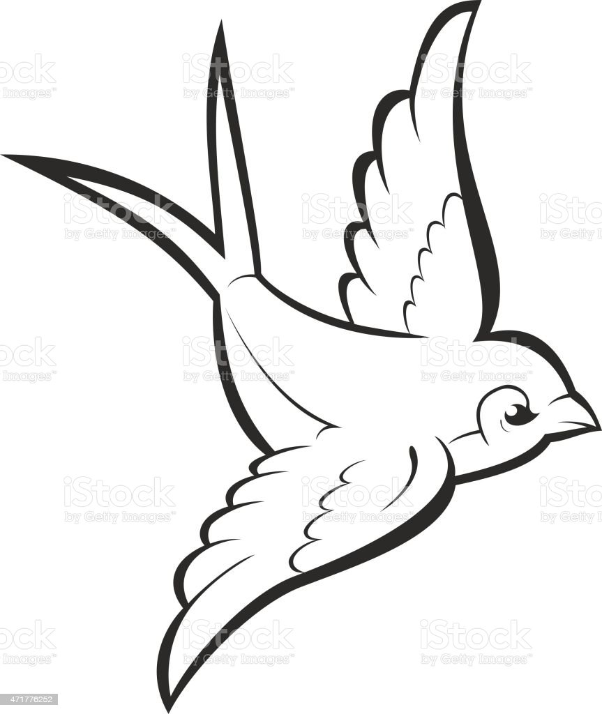 Swallow Tattoo Line Drawing : Silhouette outline flying swallow isolated on white vector