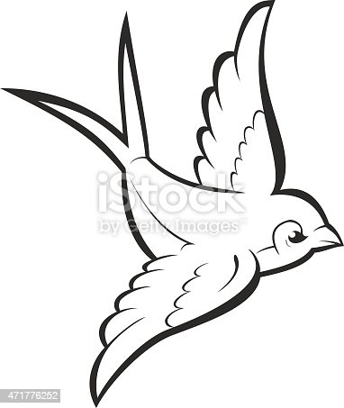 Silhouette Outline Flying Swallow Isolated On White Vector