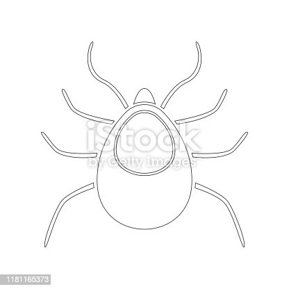 TICK silhouette. Outline. Vector icon.