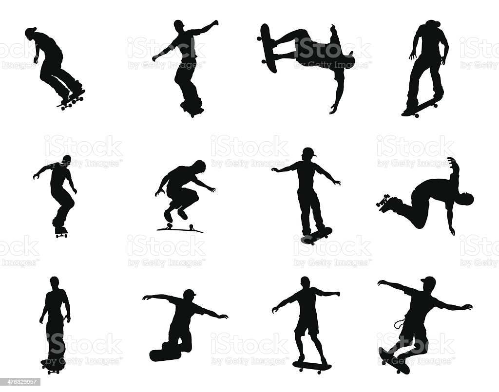 Silhouette outlines of skating skateboarders royalty-free stock vector art