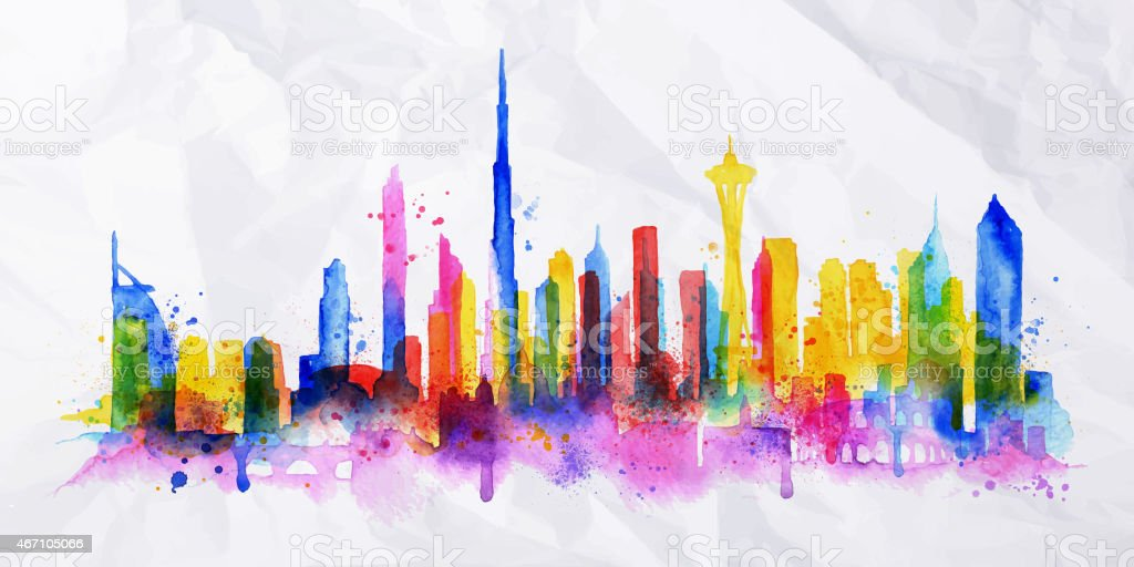Silhouette Overlay City Dubai Stock Illustration - Download