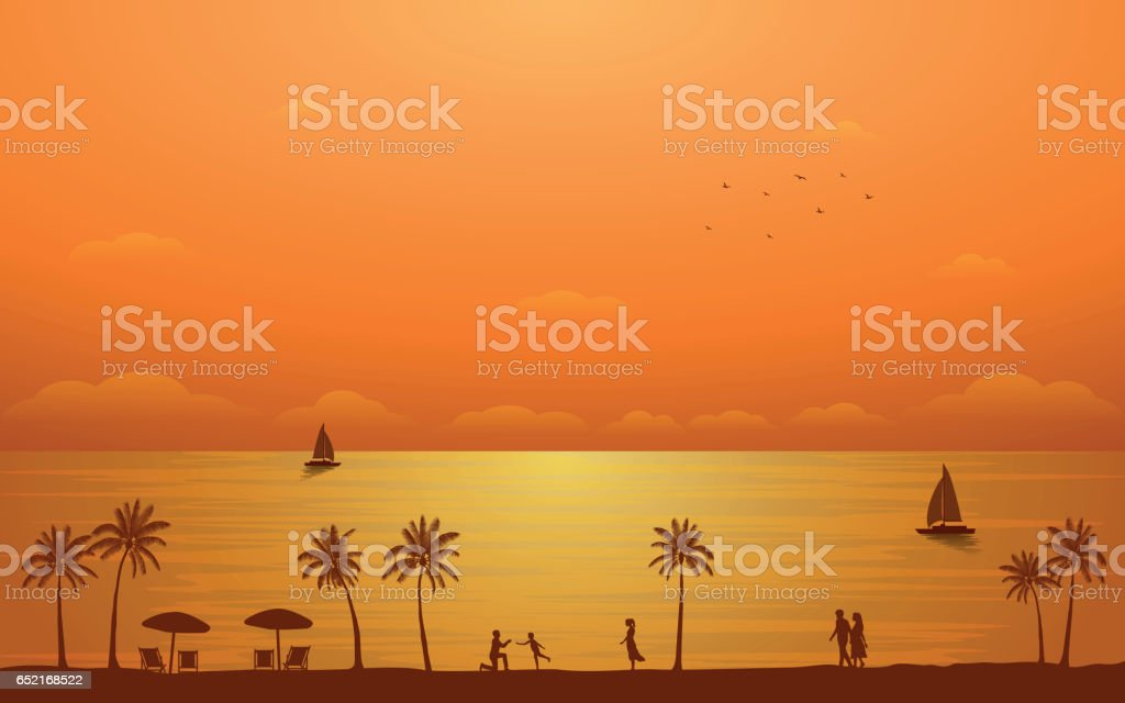 Silhouette palm tree and family on beach with sunset sky vector art illustration