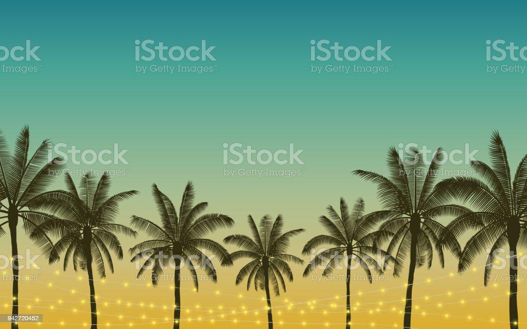 Silhouette-Palme und hängen dekorative party Lichter in flachen Icon-Design mit Vintage Farbe Hintergrund – Vektorgrafik