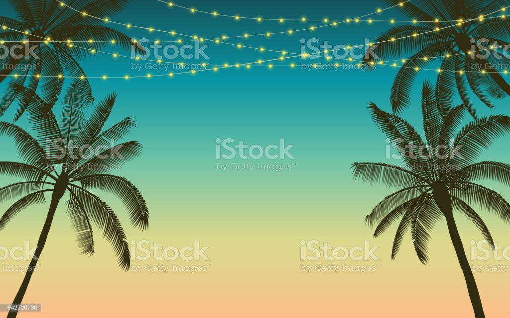 Silhouette palm tree and hanging decorative party lights in flat icon design with vintage color background royalty-free silhouette palm tree and hanging decorative party lights in flat icon design with vintage color background stock illustration - download image now