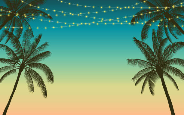 sylwetka palmy i wiszące dekoracyjne światła imprezowe w płaskim projekcie ikony z kolorowym tłem vintage - zachód słońca stock illustrations