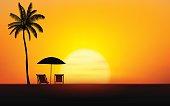 Silhouette palm tree and Umbrella Beach on island under sunset sky background