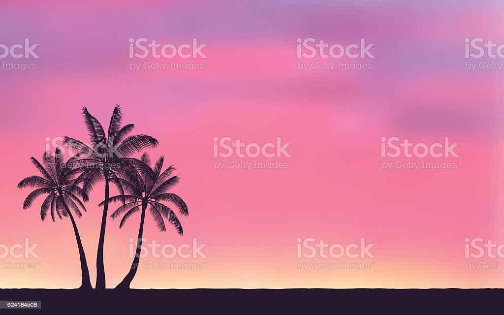 Silhouette palm tree in flat icon design and sunset sky vector art illustration