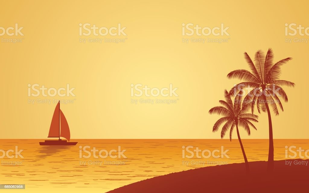 Silhouette palm tree on beach and sailboat at evening sky background vector art illustration