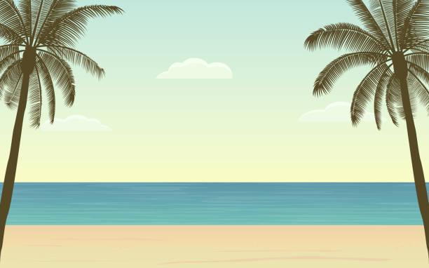 silhouette palme am strand landschaft in flachen icon-design - pattaya stock-grafiken, -clipart, -cartoons und -symbole