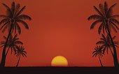 Silhouette palm tree on beach under sunset sky background