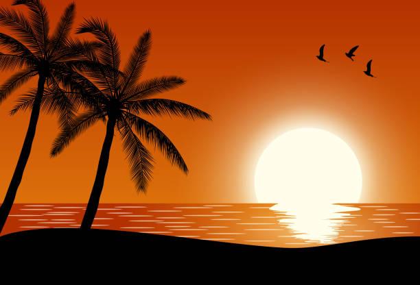 Silhouette palm tree on beach vector art illustration