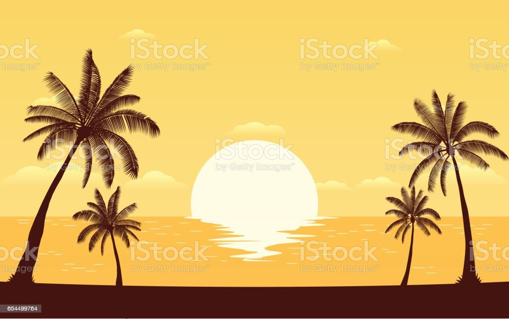 Silhouette palm tree on beach with sunset sky vector art illustration