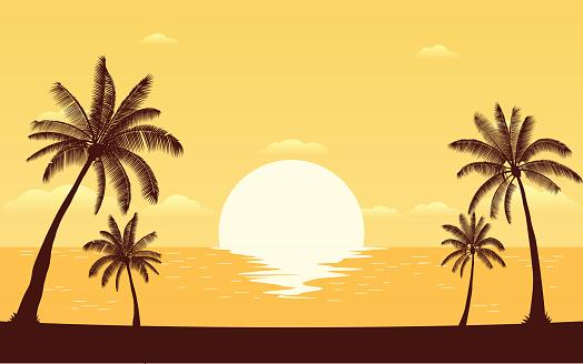 Silhouette Palmträd På Stranden Med Solnedgång Sky-vektorgrafik och fler bilder på Abstrakt