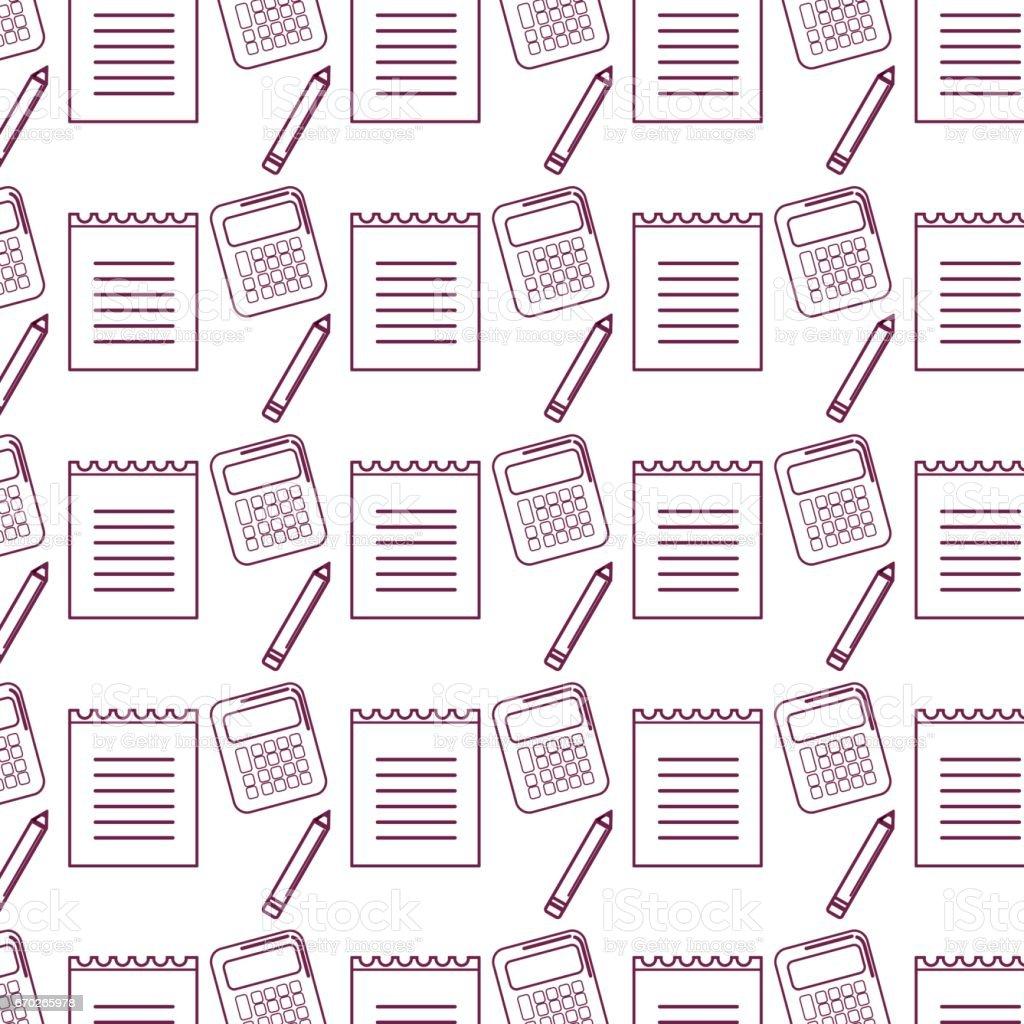 silhouet papieren notitieblok met potlood en rekenmachine tools achtergrond - Royalty-free Alleen kinderen vectorkunst
