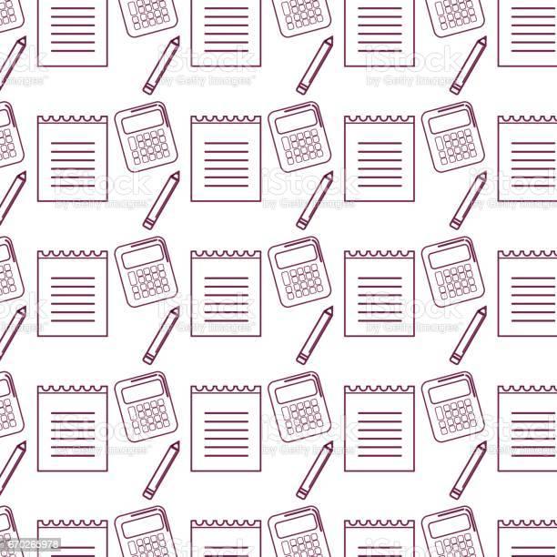 Silhouet Papieren Notitieblok Met Potlood En Rekenmachine Tools Achtergrond Stockvectorkunst en meer beelden van Alleen kinderen
