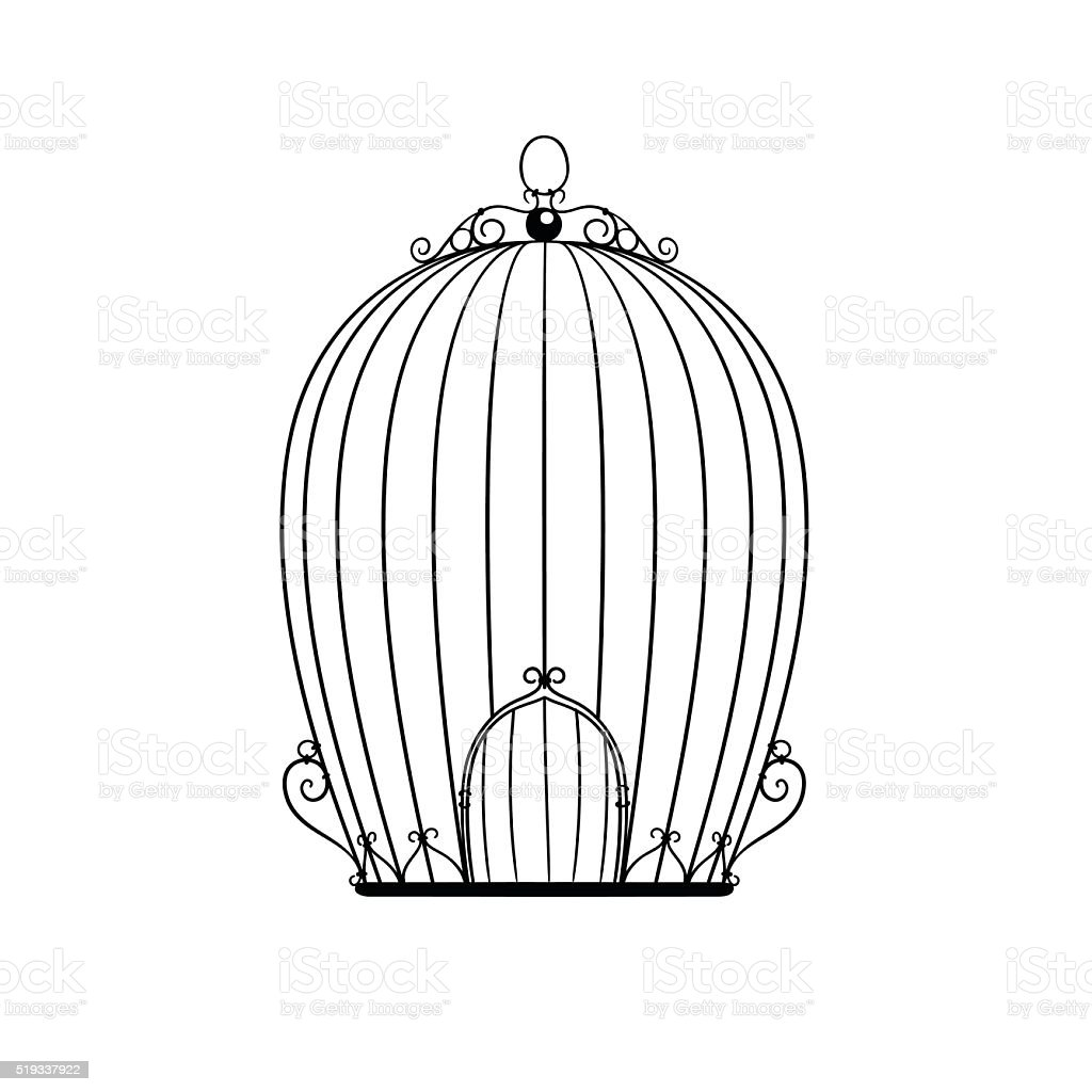 silhouette patterned birdcage vector art illustration