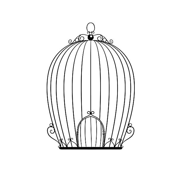 illustrations, cliparts, dessins animés et icônes de motif silhouette cage à oiseaux - dessin cage a oiseaux