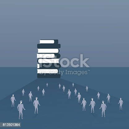 Silhouette People Crowd Walking To Books Stack Student Education Concept Flat Vector Illustration