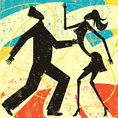 A retro styled couple dancing over an abstract background. The dancers and the background are on separate labeled layers.