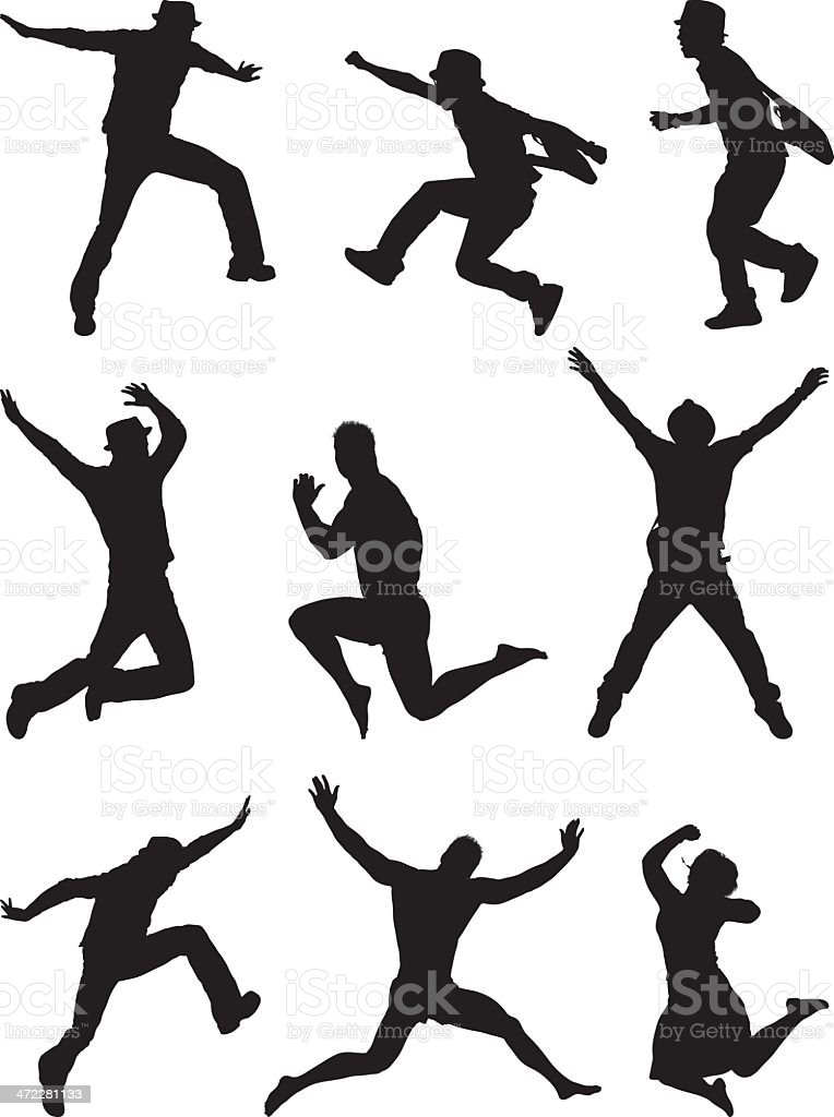 Silhouette people jumping through the air vector art illustration