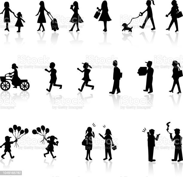 Silhouette people life style concept in various location vector id1049165782?b=1&k=6&m=1049165782&s=612x612&h=ahfv4qlcnxkd9wi7h2bdpzid dtjv39a5idyideuyno=
