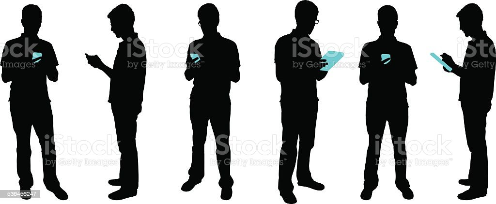 Silhouette people with mobile devices vector art illustration