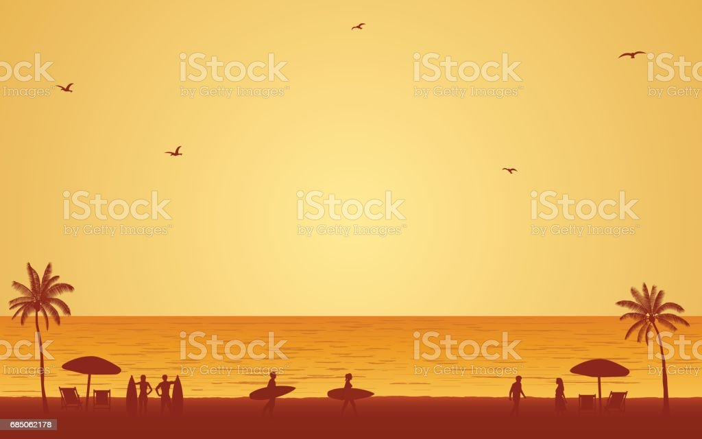 Silhouette people with surfboard on beach under sunset sky background vector art illustration
