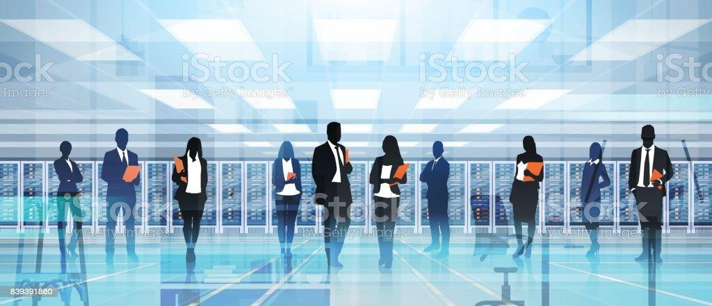 Silhouette People Working In Data Center Room Hosting Server Computer Information Database vector art illustration