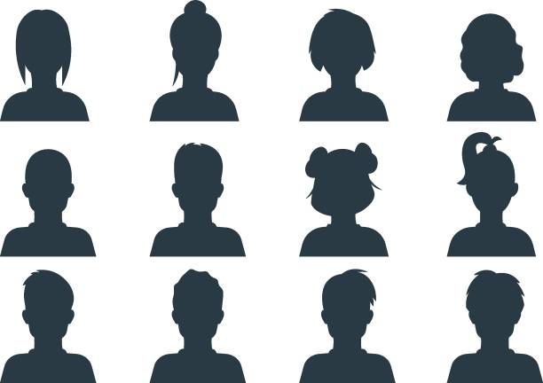 Silhouette person head. People profile avatars, human male and female anonymous faces. Vector user business portraits Silhouette person head. People profile avatars, human male and female anonymous faces. Vector user business portraits set girls stock illustrations