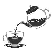 Silhouette pour coffee drink from glass teapot stream flow water retro vintage cartoon design icon vector illustration