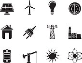 Silhouette power, energy and electricity icons