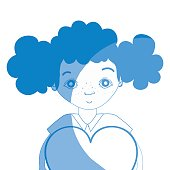 silhouette pretty girl with heart and casual wear