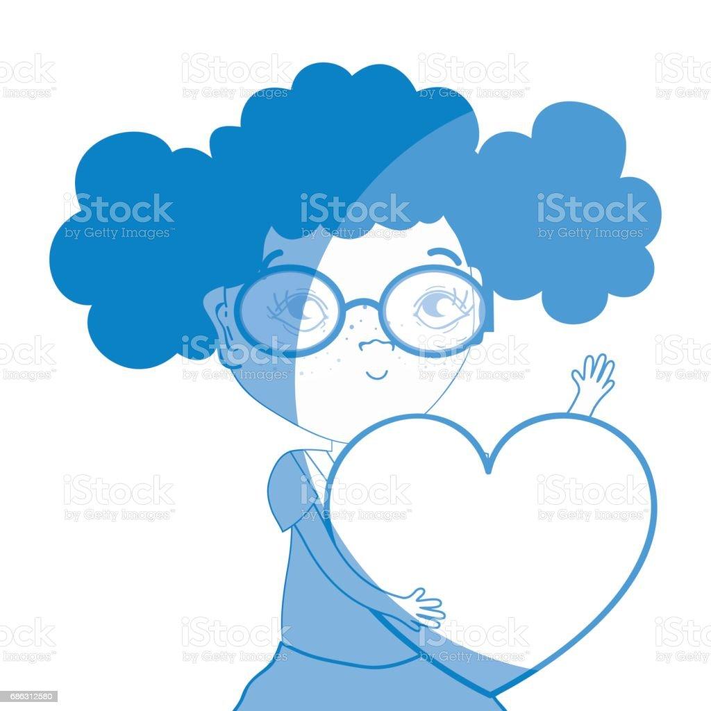 心とメガネでシルエットきれいな女の子 1人のベクターアート素材や画像