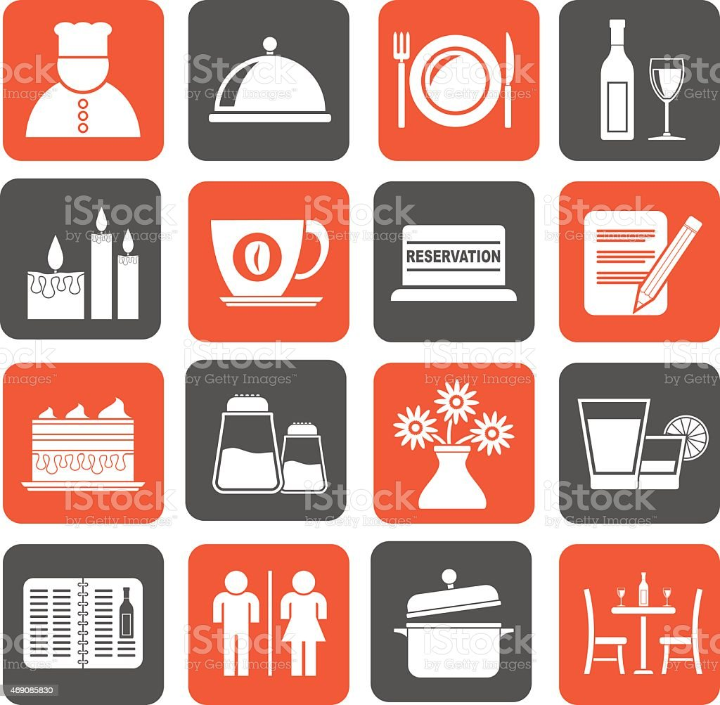 Silhouette Restaurant, cafe and bar icons vector art illustration