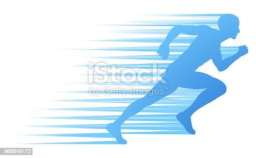 A runner or athlete in silhouette sprinting or running concept with speed lines
