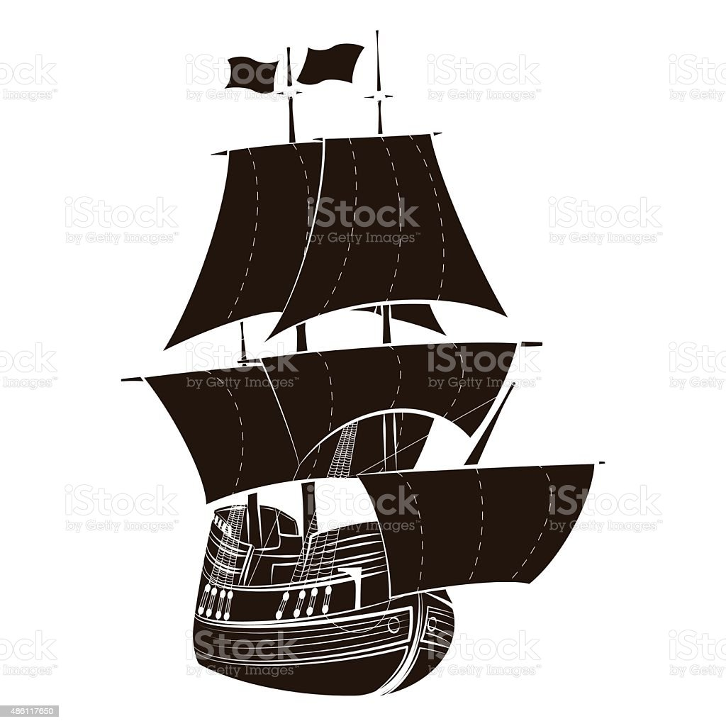 Silhouette sailboat vector art illustration