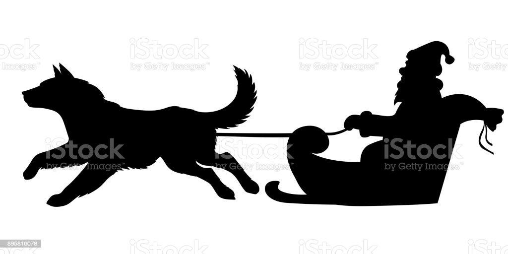 silhouette santa À cheval sur les chiens traîneau vecteurs